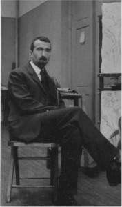 Birger Simonsson på Valands konstskola där han undervisade